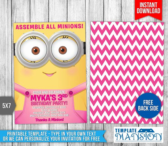 Minions Birthday Invitation Templates Unique 12 Best Minions Birthday Invitations Instant Download