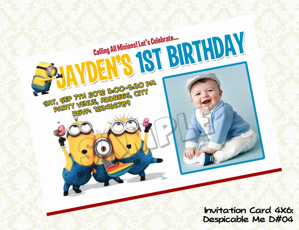 Minions Birthday Party Invitation Awesome Minions Despicable Me Invitation Birthday Party Digital