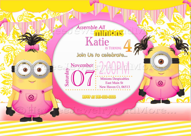 Minions Birthday Party Invitation Best Of Minions Girls Birthday Card Invitation Minions theme Birthday