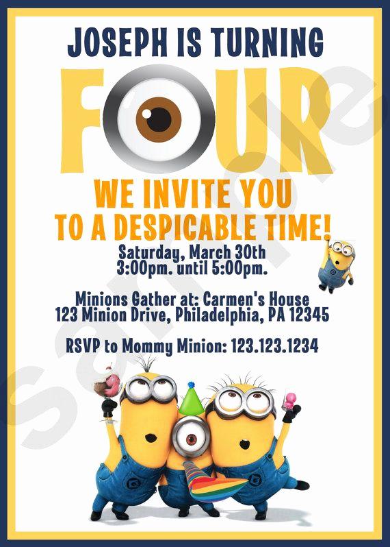 Minions Birthday Party Invitation Elegant 25 Best Ideas About Minion Birthday Invitations On