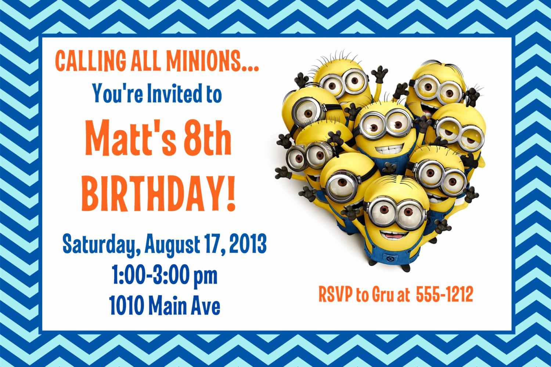 Minions Birthday Party Invitation Elegant Minion Birthday Party Invitation Printable 4x6 or 5x7