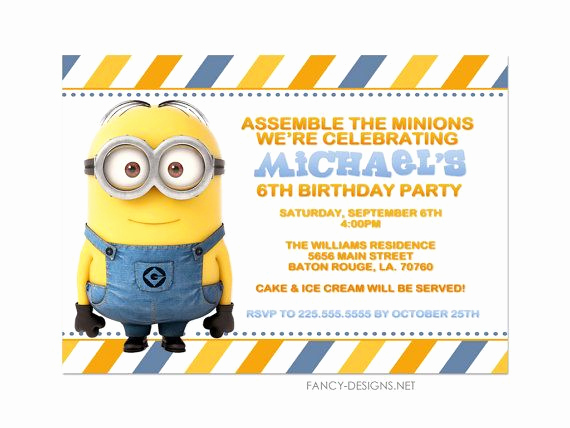 Minions Birthday Party Invitation Fresh Minion Birthday Party Invitations by Fancybelle On Etsy
