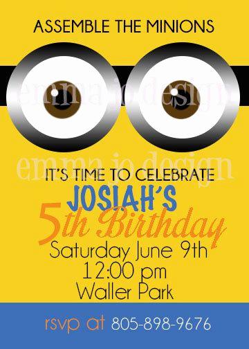 Minions Birthday Party Invitation Lovely 17 Best Ideas About Minion Party Invitations On Pinterest