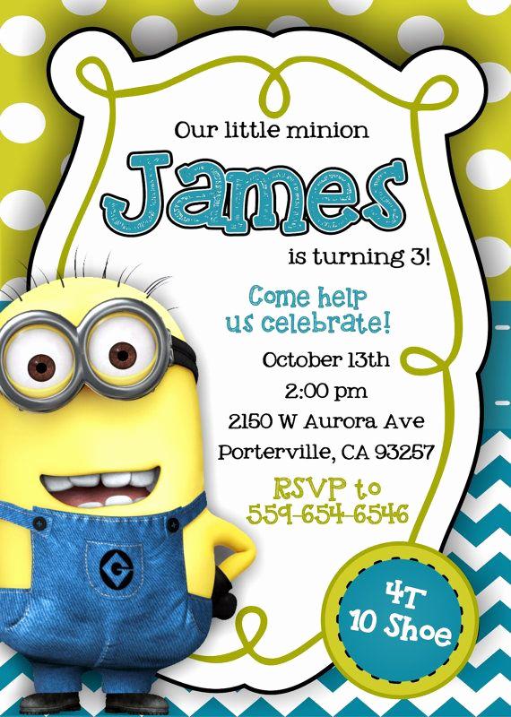 Minions Birthday Party Invitation Luxury Best 25 Minion Invitation Ideas On Pinterest