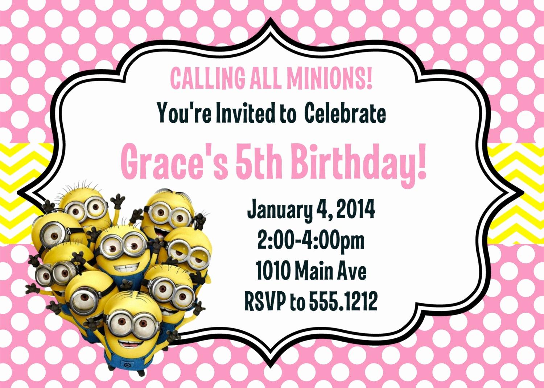 Minions Birthday Party Invitation Luxury Minion Birthday Party Invitation Printable 4x6 or 5x7