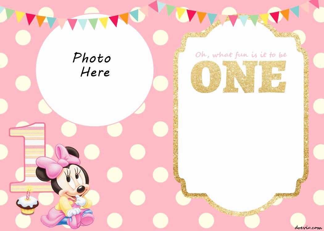 Minnie Mouse Birthday Invitation Template Awesome Free Printable Minnie Mouse 1st Invitation Templates