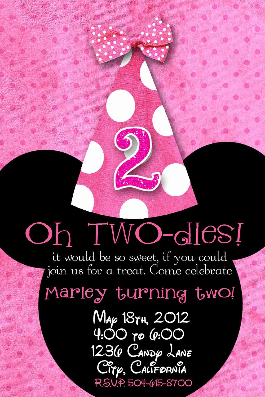 Minnie Mouse Birthday Invitation Template Beautiful Minnie Mouse 2nd Birthday Invitations