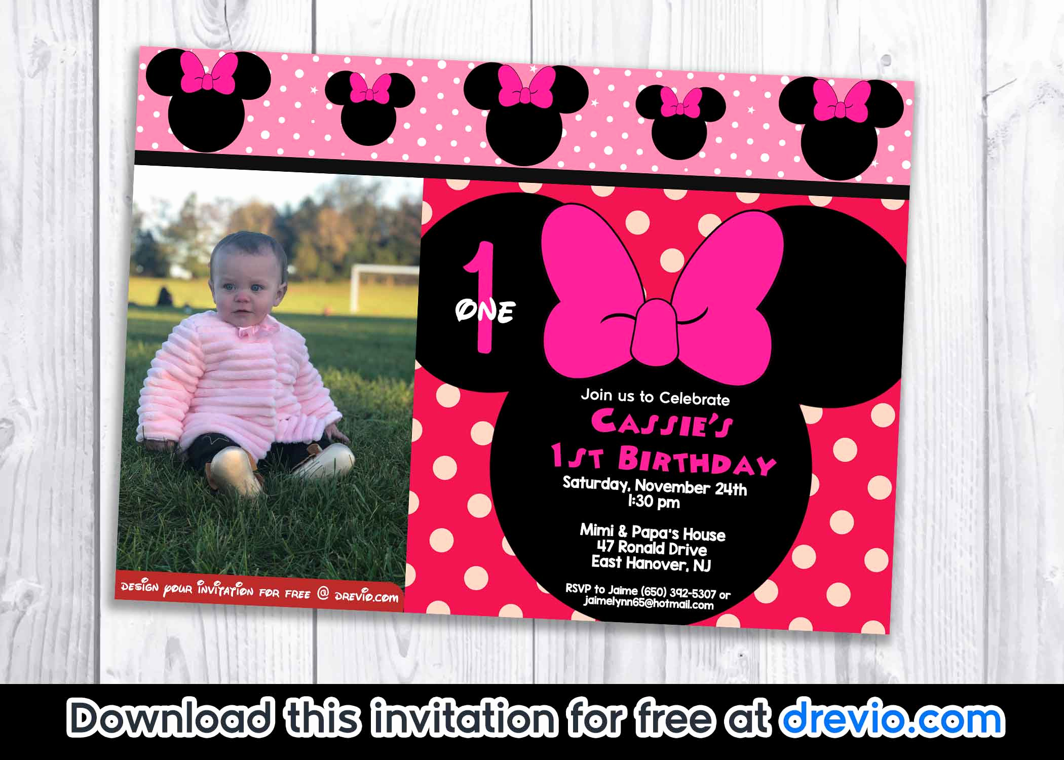 Minnie Mouse Birthday Invitation Template Best Of Free Minnie Mouse Polka Dot 1st Birthday Invitation