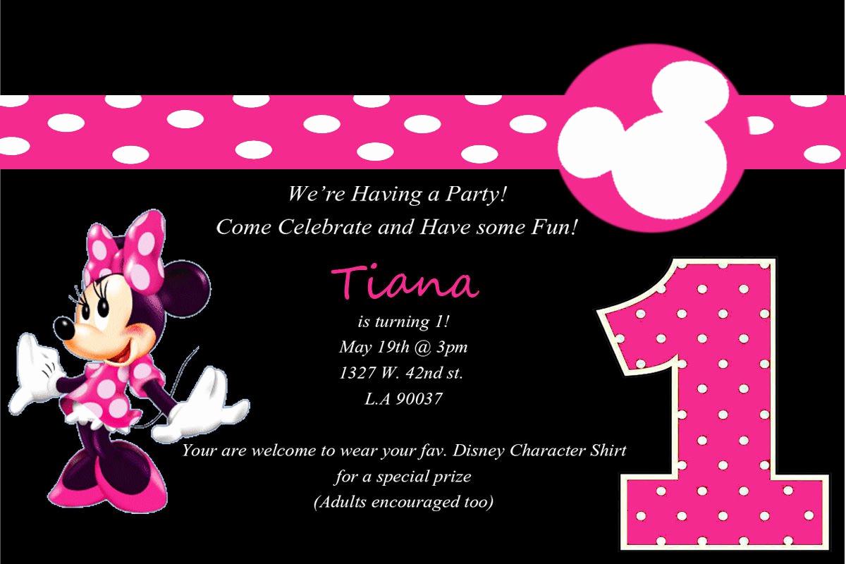 Minnie Mouse Birthday Invitation Template Elegant Minnie Mouse 1st Birthday Party Invitations