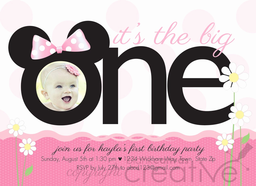Minnie Mouse Birthday Invitation Template Inspirational First Birthday Invitation Minnie Mickey Mouse 1st Birthday