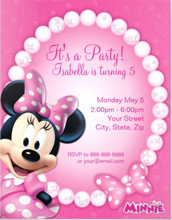 Minnie Mouse Birthday Invitation Template New 26 Minnie Mouse Invitation Templates Psd Ai Word