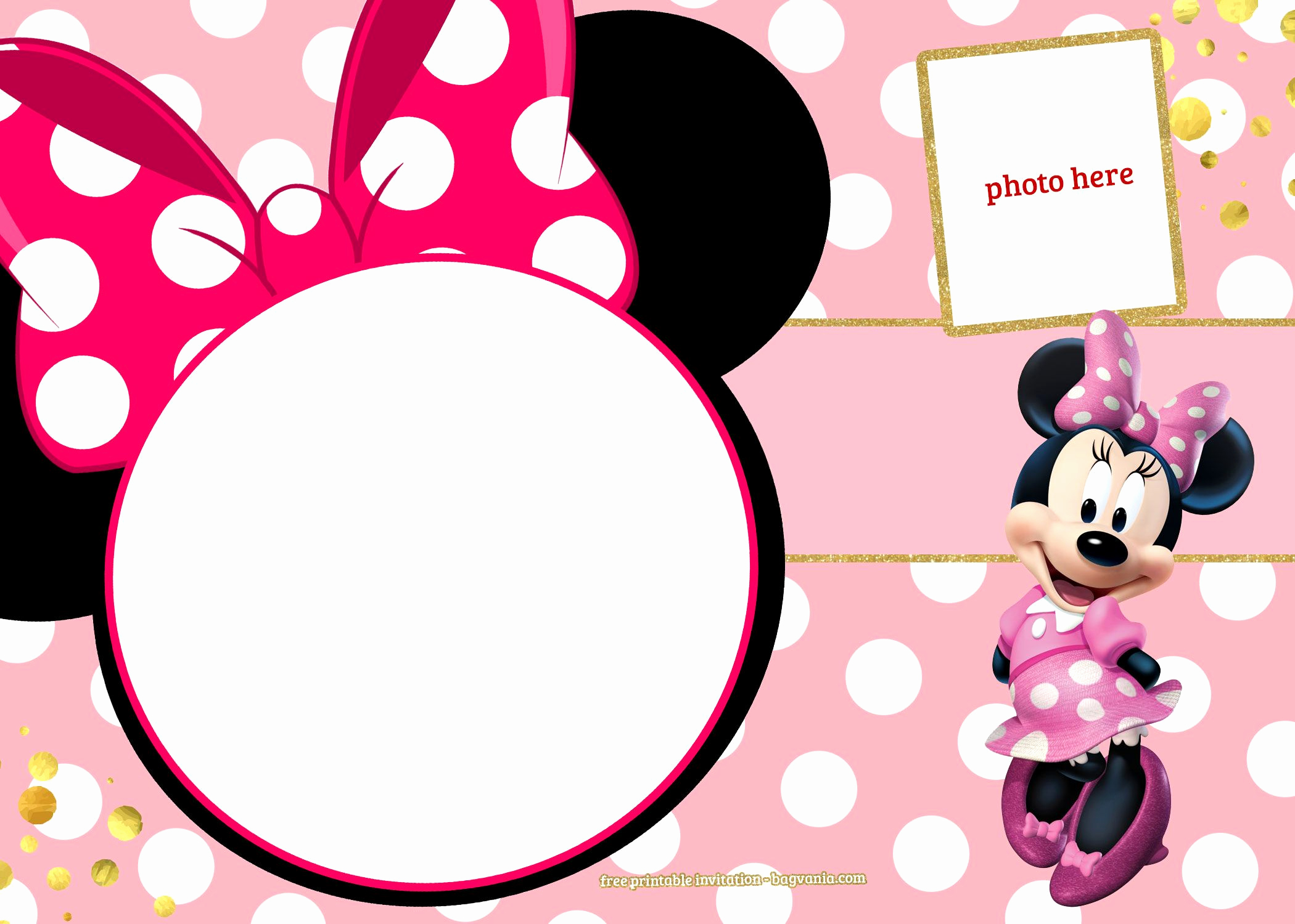 Minnie Mouse Birthday Invitation Template New Free Printable Minnie Mouse Pinky Birthday Invitation