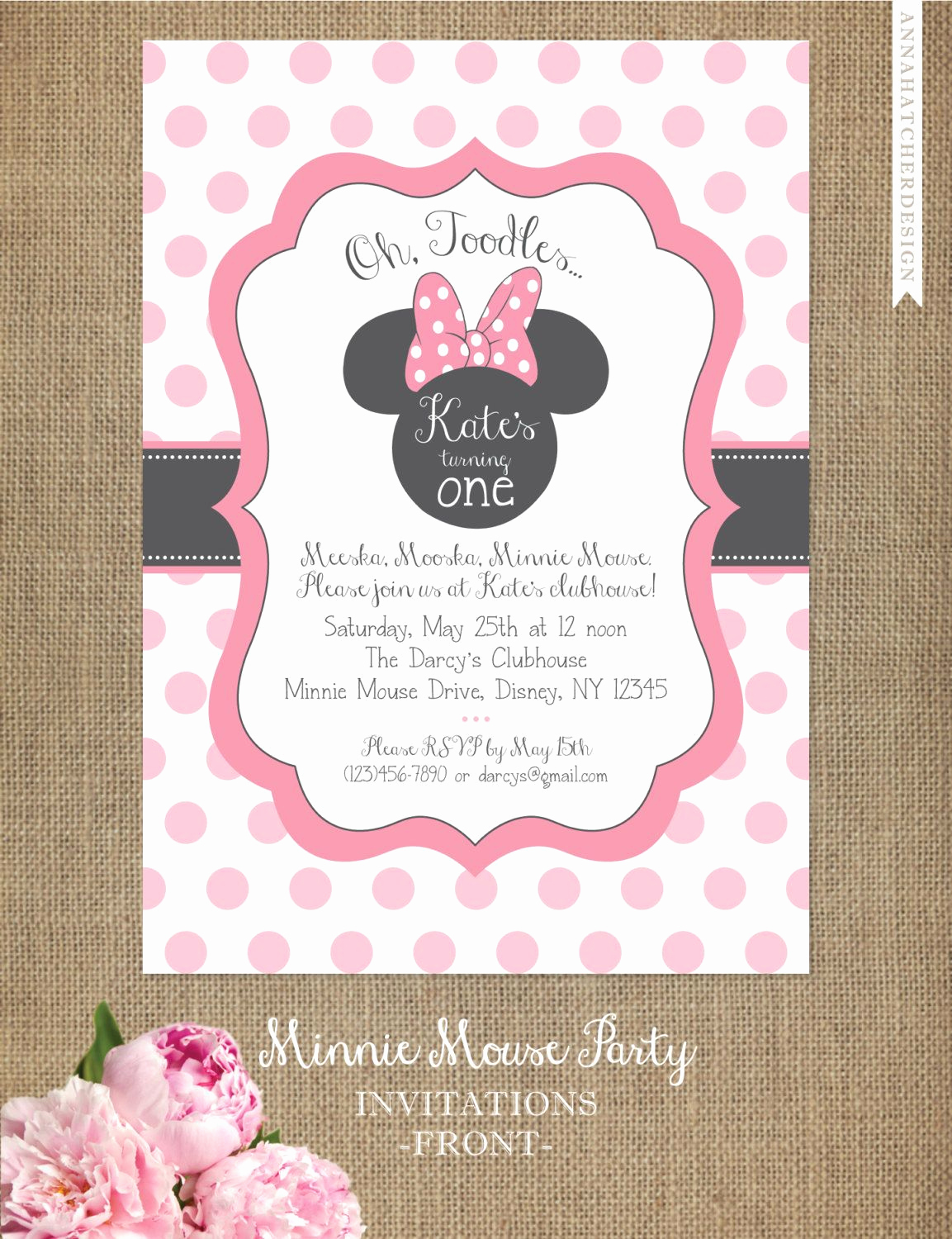 Minnie Mouse Birthday Invitation Template Unique Minnie Mouse Invitation Editable Birthday Invitation