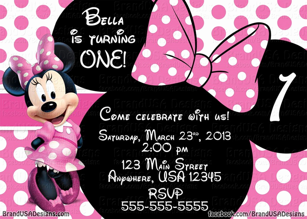 Minnie Mouse Birthday Invitation Template Unique Minnie Mouse Pink Birthday Invitations