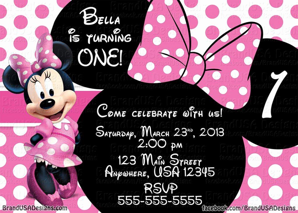 Minnie Mouse Birthday Invitation Template Unique Minnie Mouse Pink Birthday Invitations
