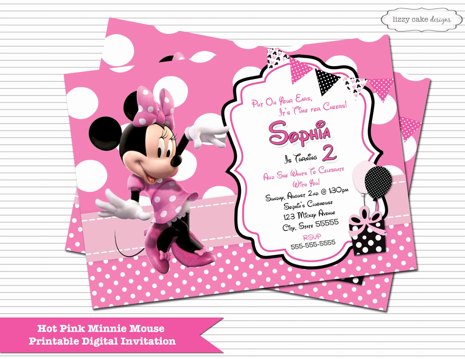 Minnie Mouse Birthday Invitation Wording Beautiful Hot Pink Minnie Mouse Birthday Invitation Minnie Mouse