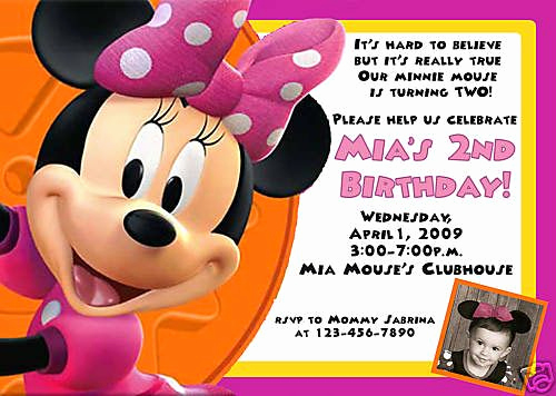 Minnie Mouse Birthday Invitation Wording Elegant Minnie Mouse Birthday Card Invitations