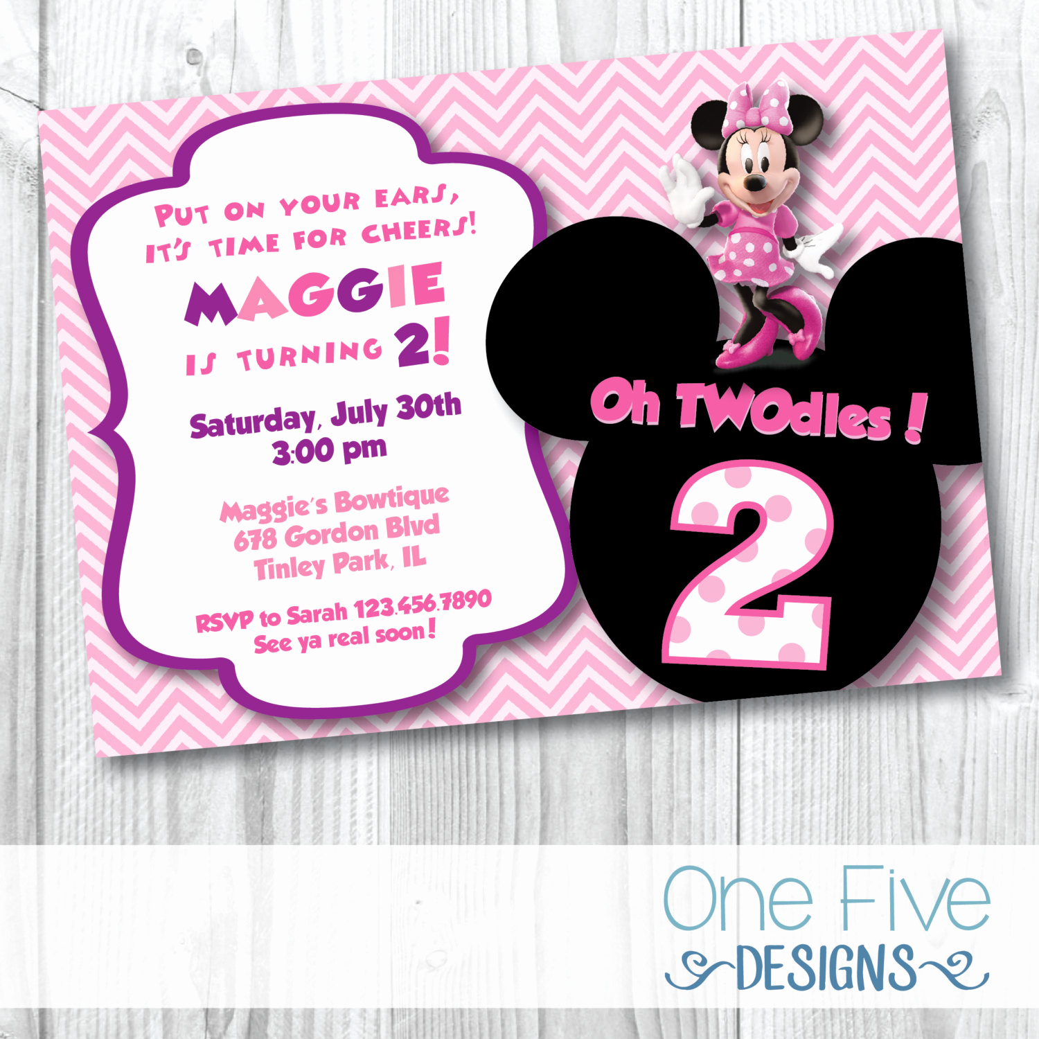 Minnie Mouse Birthday Invitation Wording Elegant Minnie Mouse Oh Twodles Birthday Party Invitation