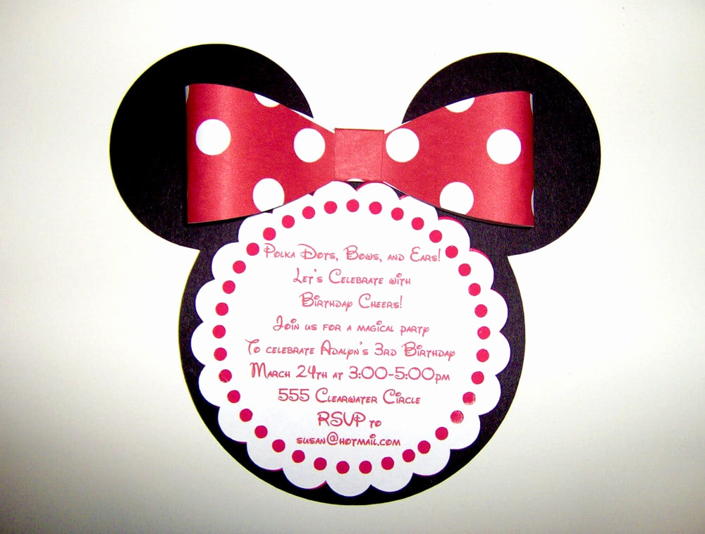 Minnie Mouse Birthday Invitation Wording Elegant Minnie Mouse Party Invitation