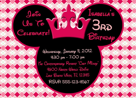 Minnie Mouse Birthday Invitation Wording Lovely Items Similar to Mickey Mouse or Minnie Mouse Digital
