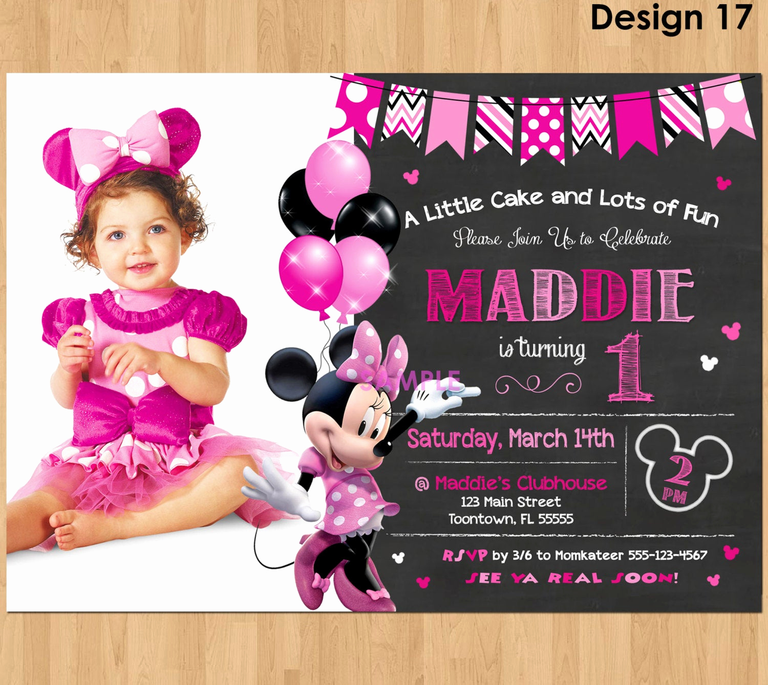 Minnie Mouse Birthday Invitation Wording Lovely Minnie Mouse Invitation Minnie Mouse 1st Birthday First Bday
