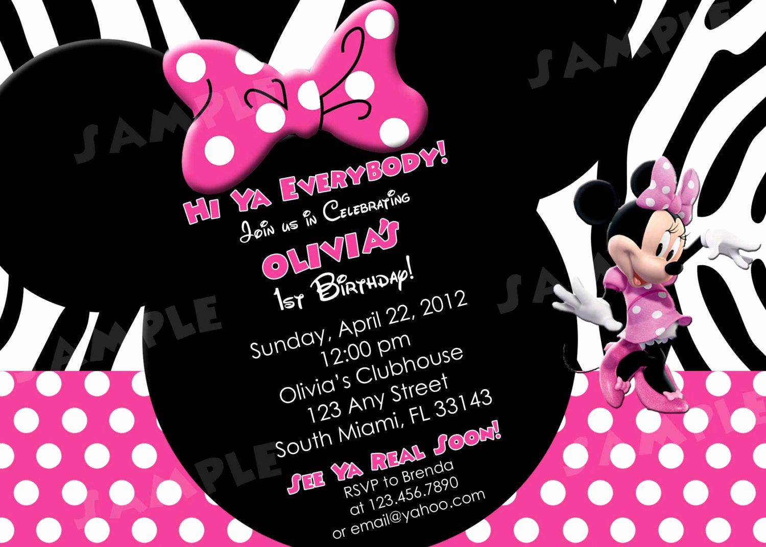 Minnie Mouse Birthday Invitation Wording Luxury Printable Minnie Mouse Zebra Print Birthday by Modpoddesigns