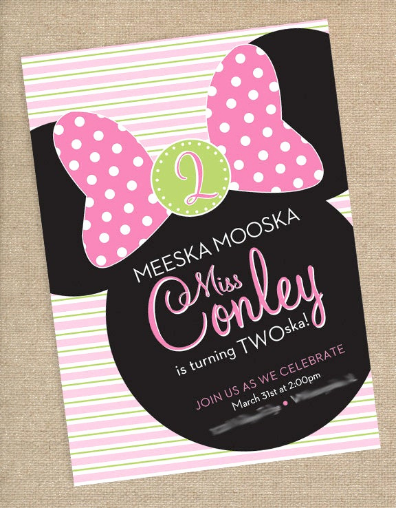 Minnie Mouse Birthday Invitation Wording New Kitchen & Dining