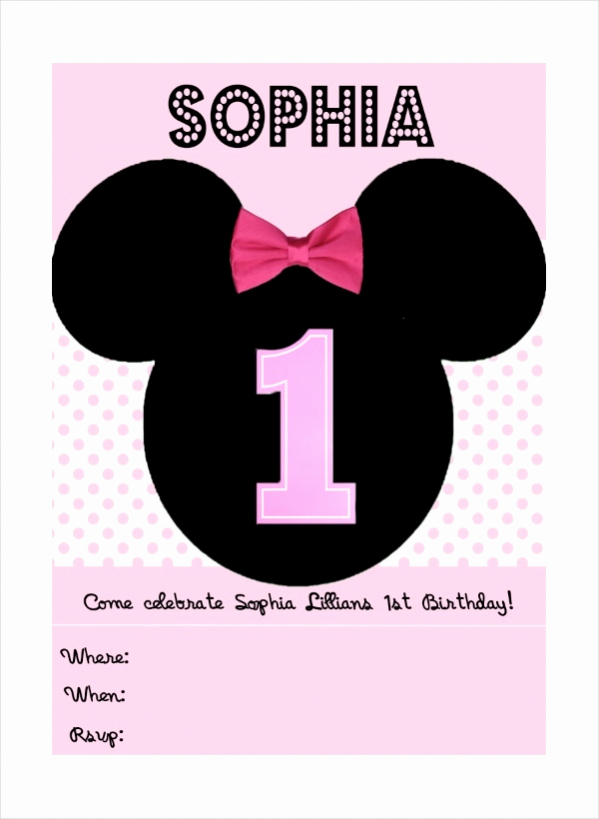 Minnie Mouse Blank Invitation Elegant 13 Cute Minnie Mouse Invitation Design Psd Vector Eps