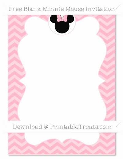 Minnie Mouse Blank Invitation Inspirational Free Pastel Light Pink Chevron Blank Minnie Mouse