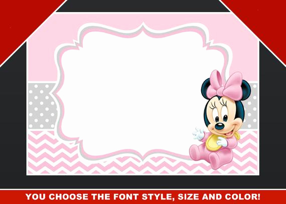 Minnie Mouse Blank Invitation Luxury Minnie Mouse Blank Invitation Birthday Thank You by
