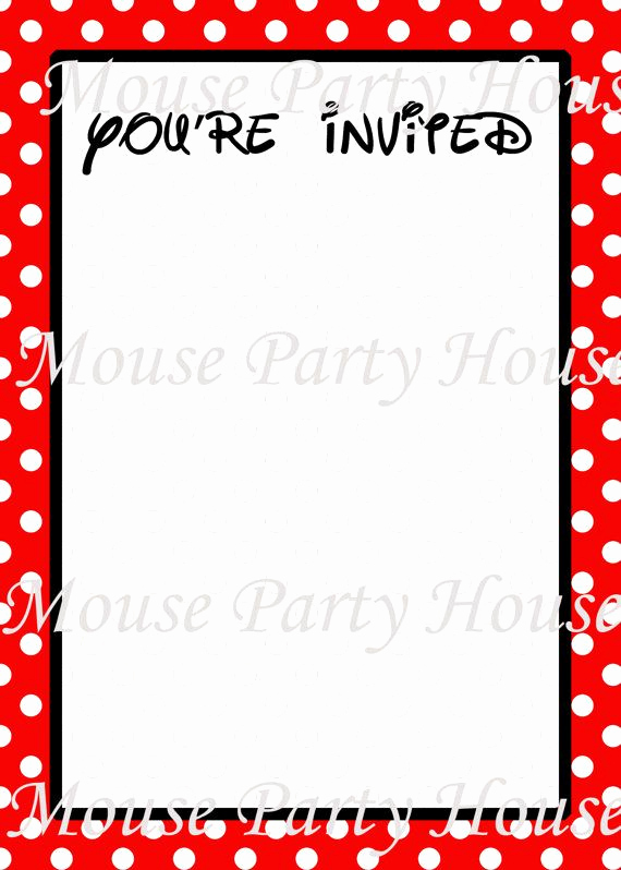 Minnie Mouse Blank Invitation New Mickey Minnie Mouse Inspired Blank Invitation You Fill In