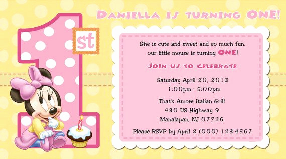Minnie Mouse Blank Invitation New Minnie Mouse 1st Birthday Invitations Blank