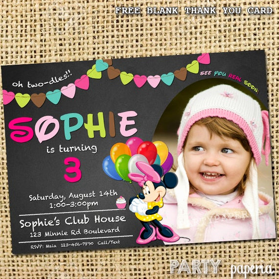 Minnie Mouse Blank Invitation New Minnie Mouse Invitation Free Blank Thank You Card by