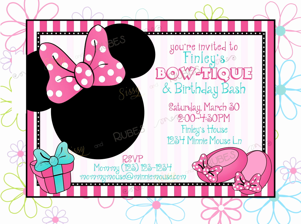 Minnie Mouse Blank Invitation Unique Items Similar to Minnie Mouse Inspired Birthday Invitation