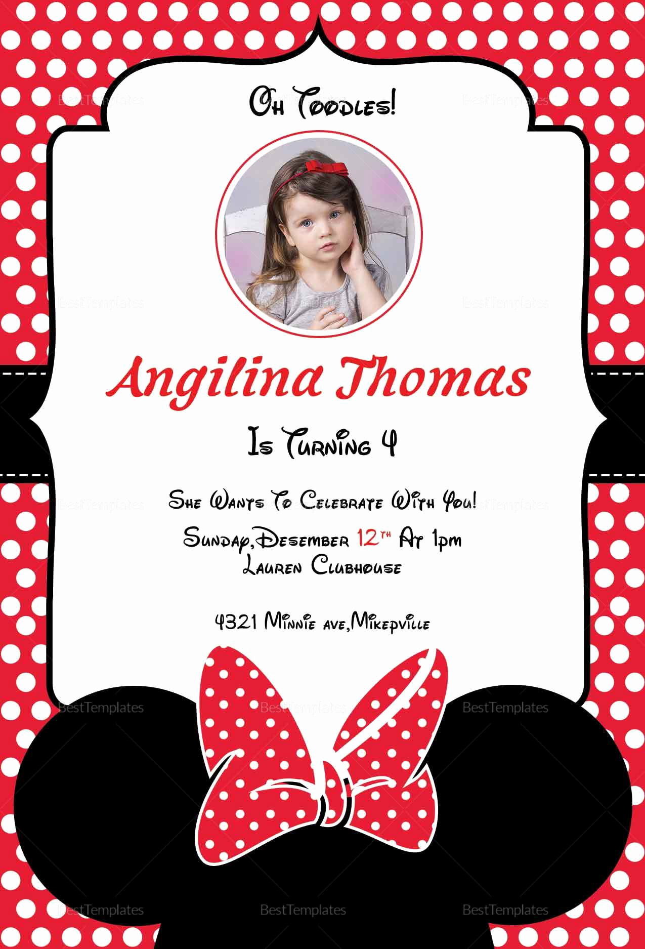 Minnie Mouse Invitation Card Awesome Birthday Minnie Mouse Invitation Card Design Template In
