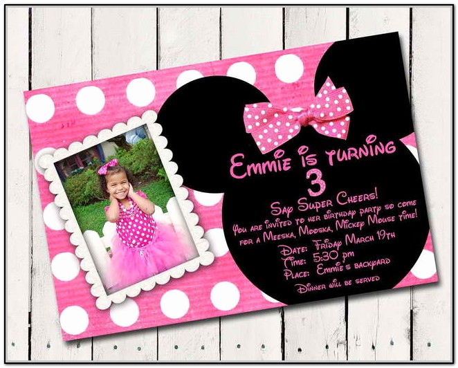 Minnie Mouse Invitation Card Awesome Minnie Mouse Birthday Invitations Personalized