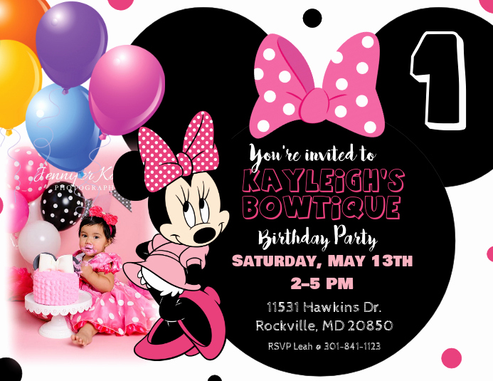 Minnie Mouse Invitation Card Beautiful Minnie Mouse Birthday Invitation Template