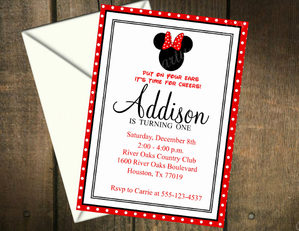 Minnie Mouse Invitation Card Elegant 26 Minnie Mouse Invitation Templates Psd Ai Word