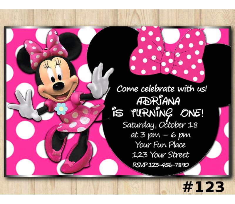 Minnie Mouse Invitation Card Elegant Minnie Mouse Head Birthday Invitation Minnie Mouse