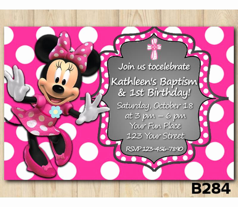 Minnie Mouse Invitation Card Fresh Baptism Minnie Mouse Invitation Minnie Mouse Invitation