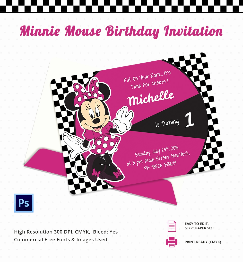 Minnie Mouse Invitation Card Fresh Minnie Mouse Birthday Invitation Template – 12 Free Psd