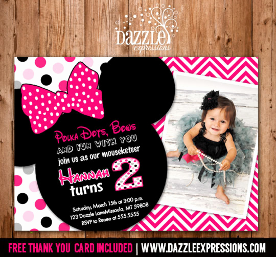 Minnie Mouse Invitation Card Lovely Printable Minnie Mouse Birthday Invitation Girls First