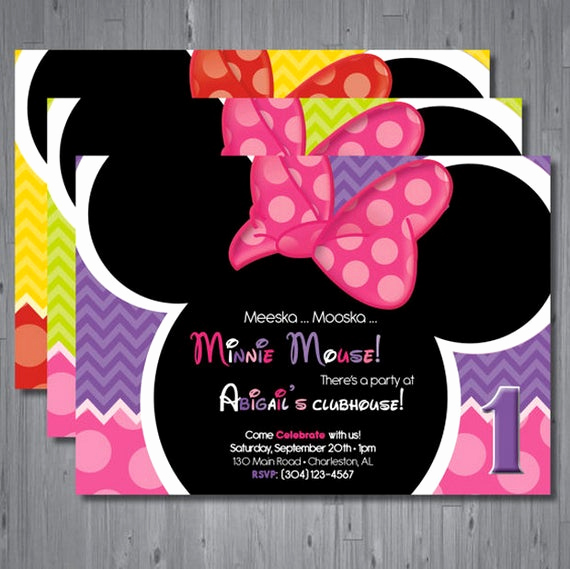 Minnie Mouse Invitation Card Luxury Minnie Mouse Birthday Invitation First Birthday by