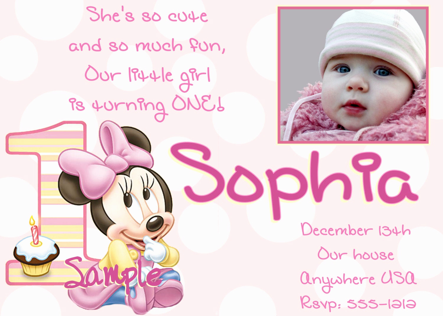 Minnie Mouse Invitation Ideas Beautiful Minnie Mouse 1st Birthday Invitations Printable Digital File