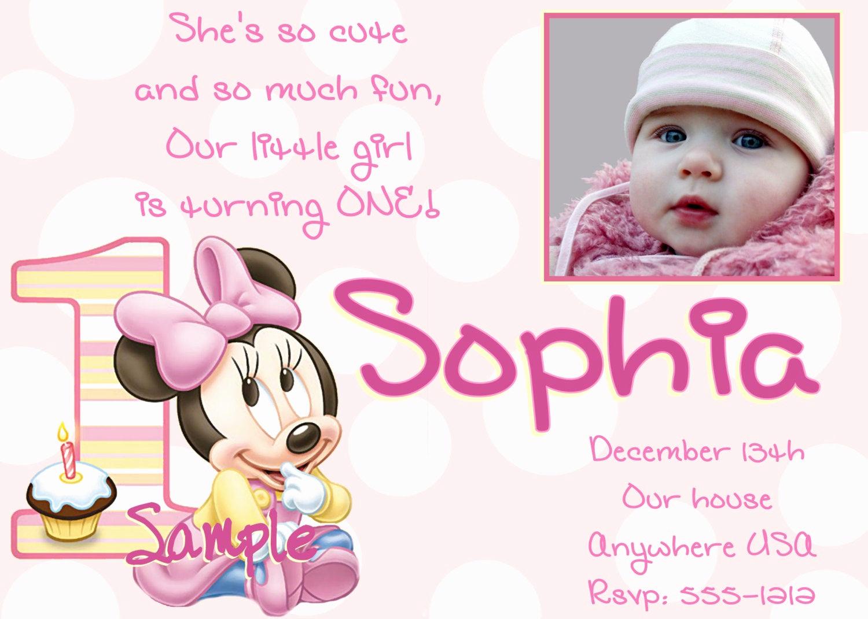 Minnie Mouse Invitation Ideas Beautiful Minnie Mouse 1st Birthday Invitations Printable Digital File