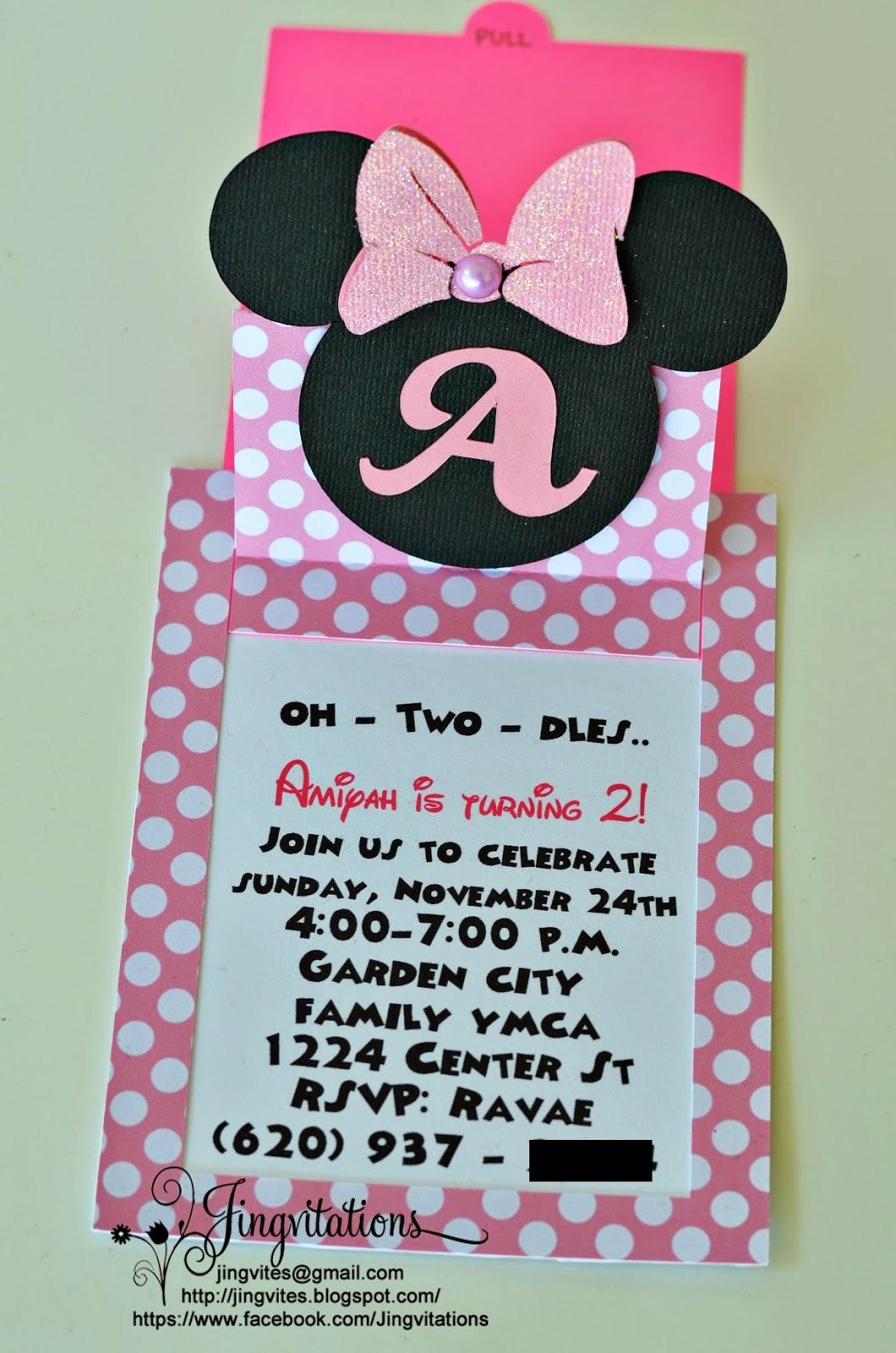 Minnie Mouse Invitation Ideas Elegant Jingvitations Cricut Handmade Minnie Mouse Pop Up Invitations