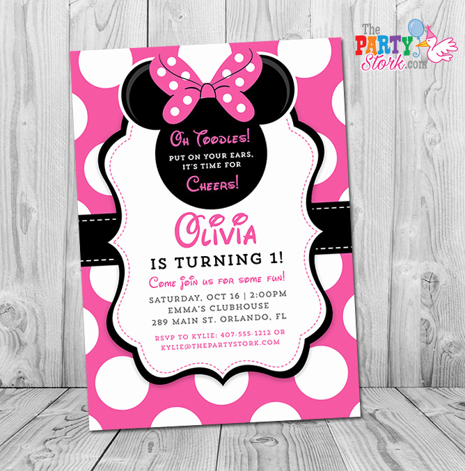 Minnie Mouse Invitation Ideas Fresh Minnie Mouse 1st Birthday Invitations Printable Girls Party