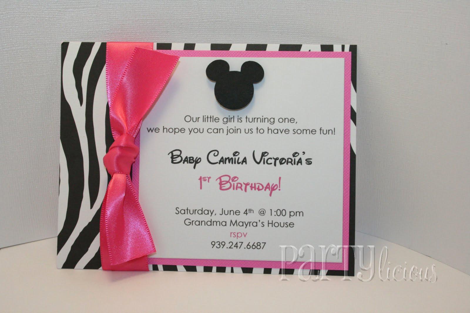 Minnie Mouse Invitation Ideas Lovely Partylicious events Pr Zebra & Pink Baby Minnie Birthday