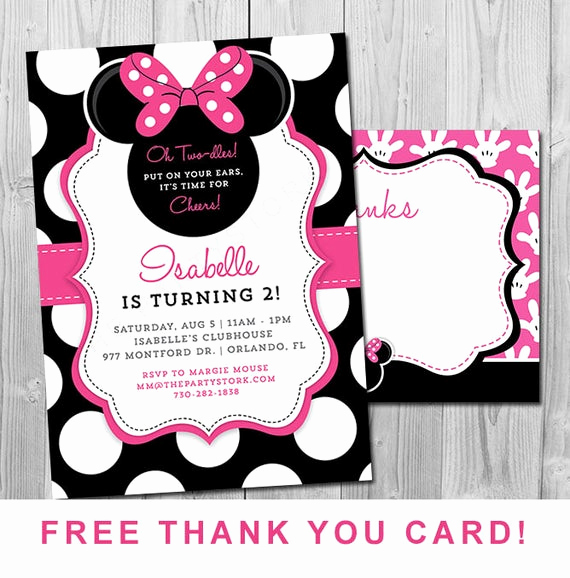 Minnie Mouse Invitation Ideas Luxury Minnie Mouse 2nd Birthday Invitations Printable Girls Party