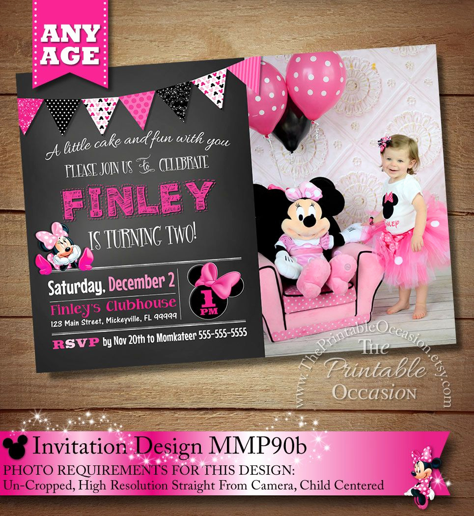 Minnie Mouse Invitation Ideas New Huge Selection Chalkboard Minnie Mouse Invitation Pink